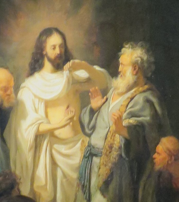 Jesus lifting his robe to show Thomas the wound in his side, while others look on